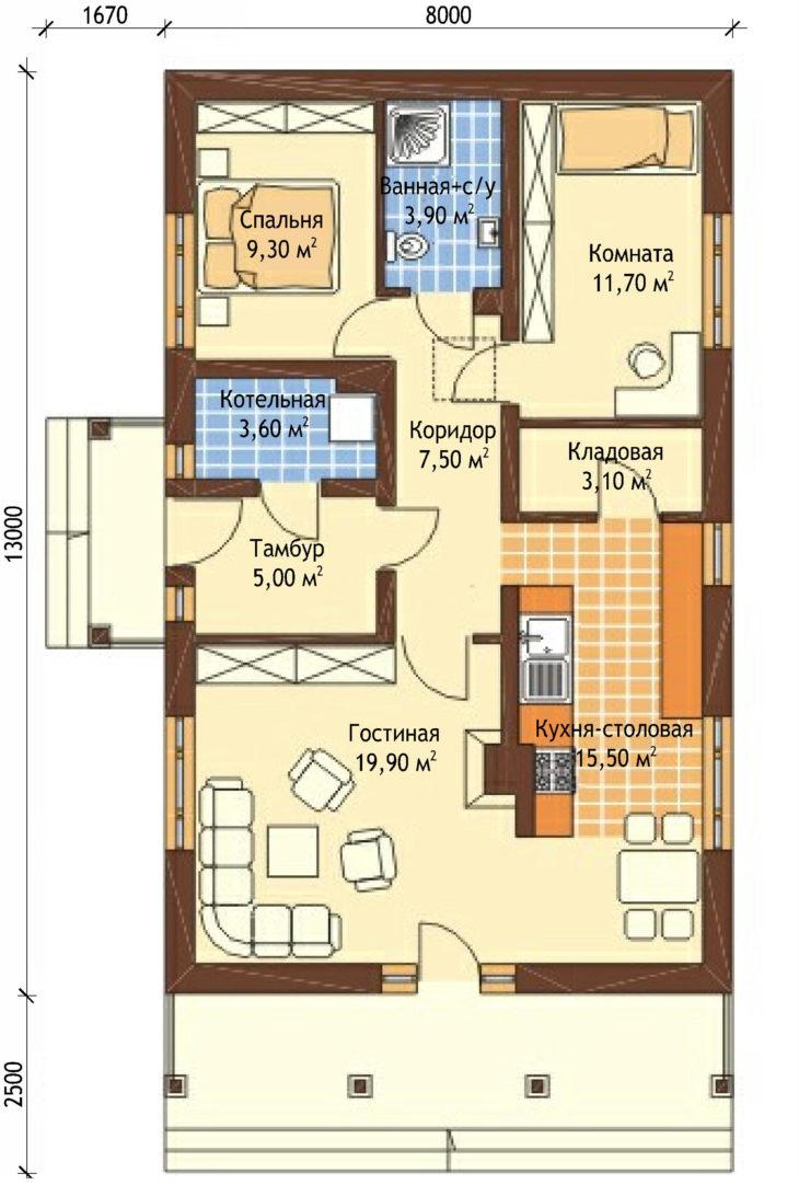 План этажа одноэтажного дома с террасой P130