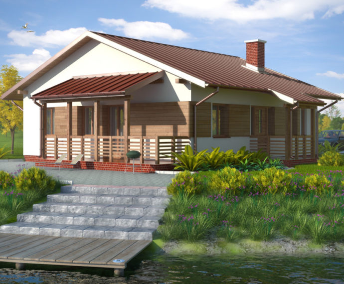 Проект одноэтажного дома с террасой P132 - фото №1