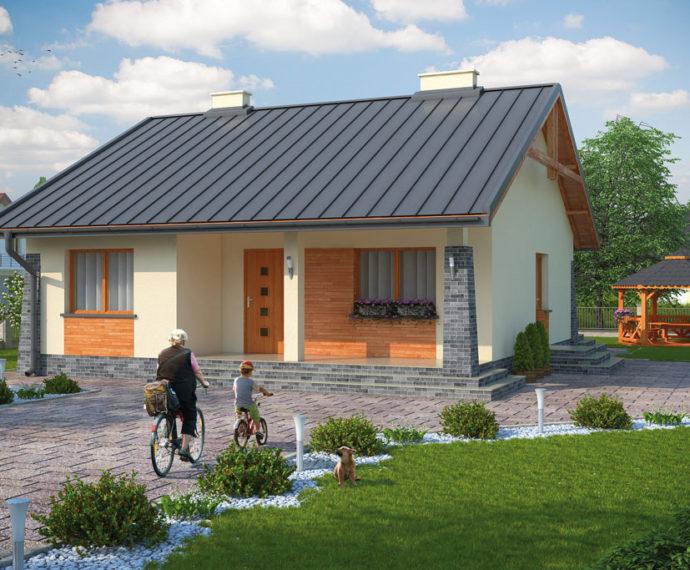 Проект одноэтажного дома с террасой P133 - фото №1