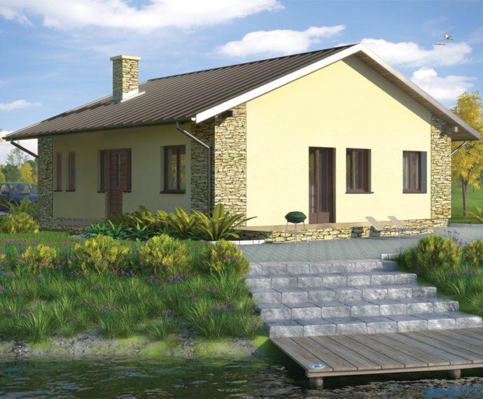 Проект одноэтажного дома с террасой P134 - фото №1
