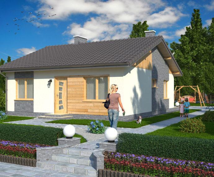 Проект одноэтажного дома с террасой P136 - фото №1