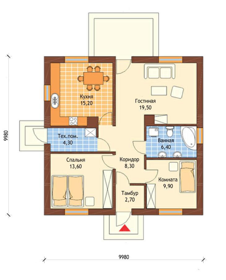 План 1 этажа одноэтажного дома с террасой P137