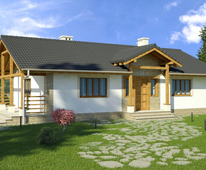 Проект одноэтажного дома с террасой P138 - фото №1