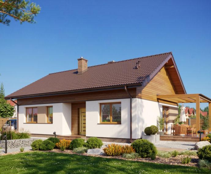 Проект одноэтажного дома с террасой P139 - фото №1