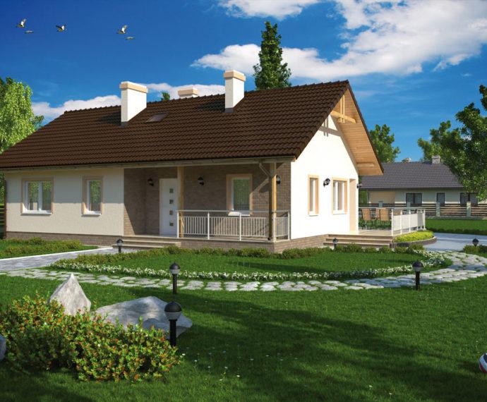 Проект одноэтажного дома с террасой P141 - фото №4