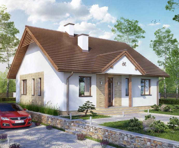 Проект одноэтажного дома с террасой P142 - фото №1