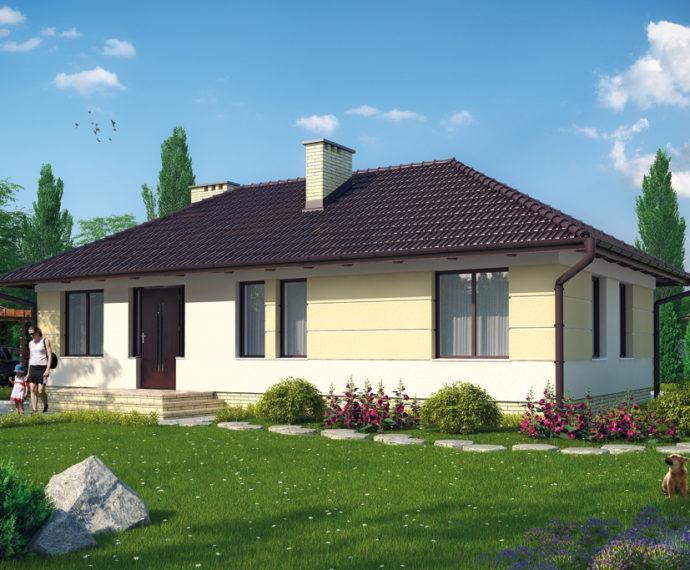 Проект одноэтажного дома с террасой P144 - фото №1