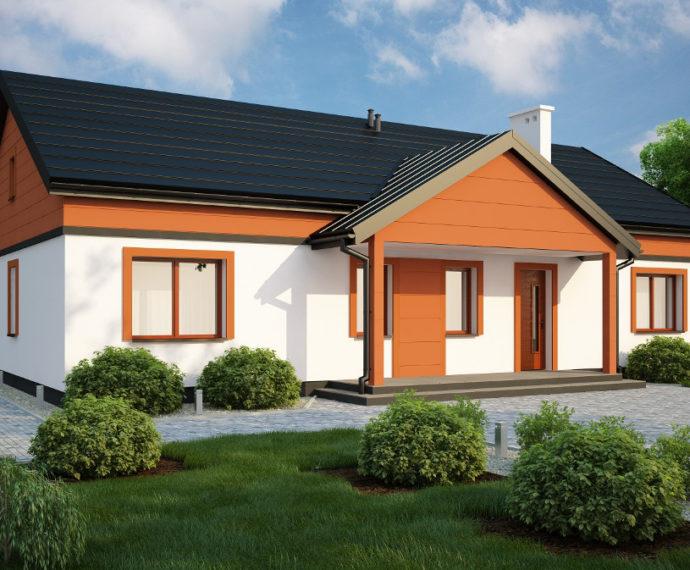 Проект одноэтажного дома с террасой P160 - фото №1