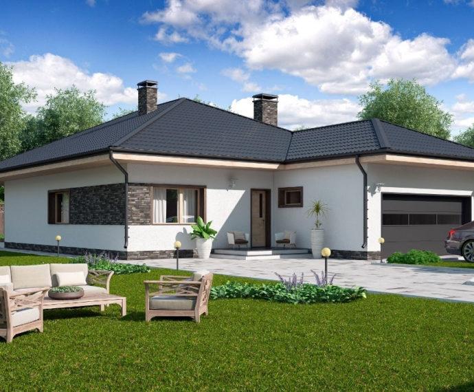 Проект одноэтажного дома с террасой и гаражом P165 - фото №1