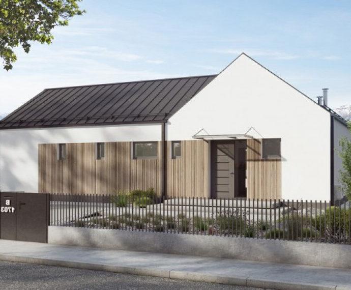 Проект одноэтажного дома с террасой P19 - фото №1