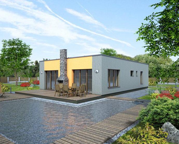Проект одноэтажного дома с террасой P82 - фото №2