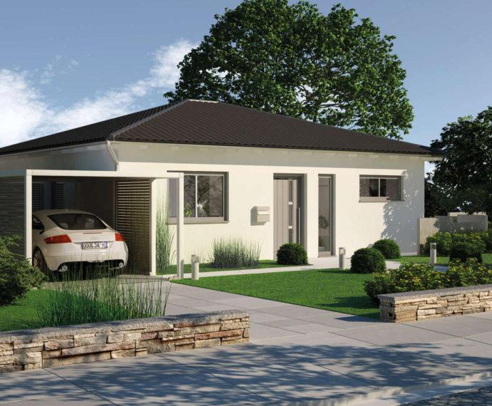 Проект одноэтажного дома с террасой и навесом P94 - фото №1