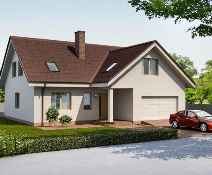 Проект мансардного дома с гаражом S38 - вид спереди