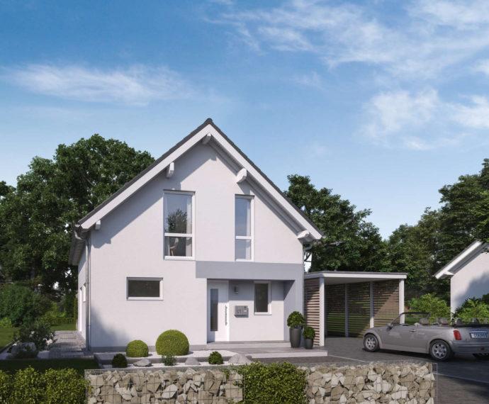 Проект мансардного дома с террасой и навесом S65 - фото №1