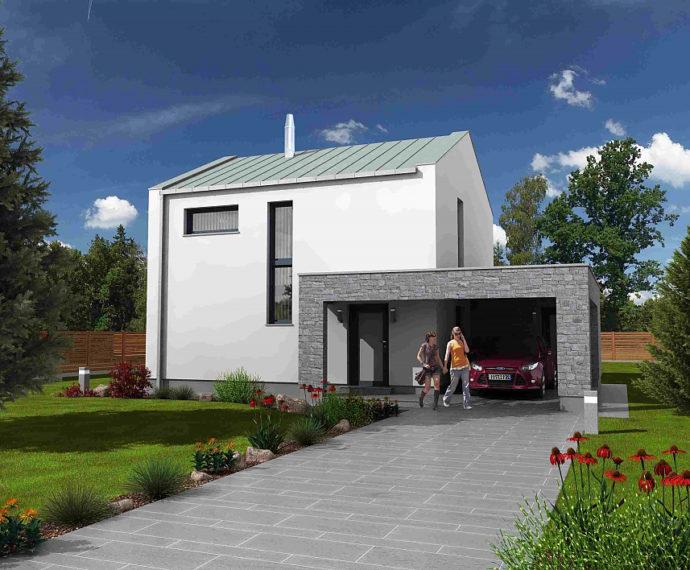 Проект двухэтажного дома с террасой и навесом V03 - фото №1