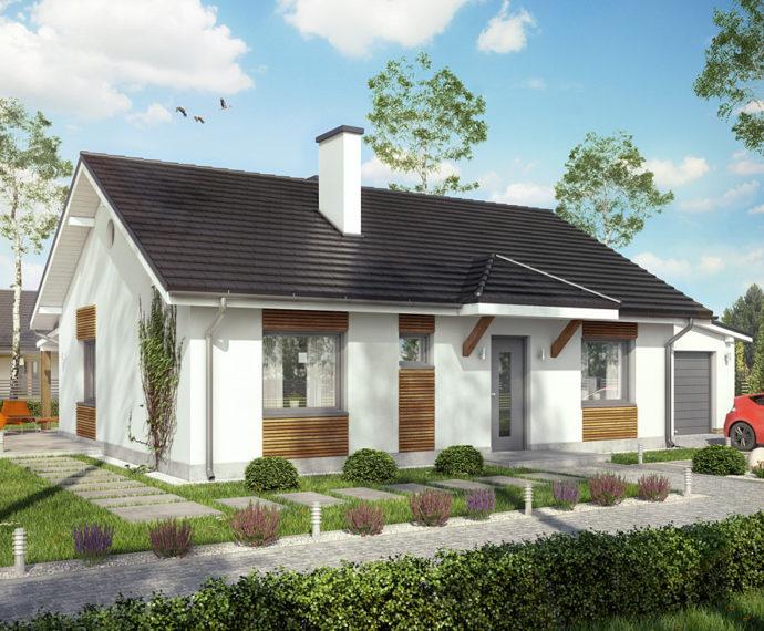 Проект одноэтажного дома с террасой и гаражом P148 - фото №1