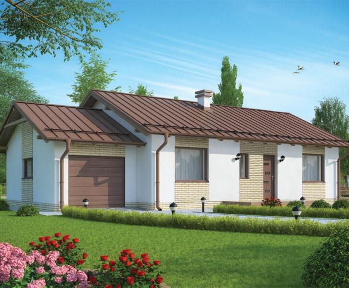 Проект одноэтажного дома с террасой и гаражом P152 - фото №2