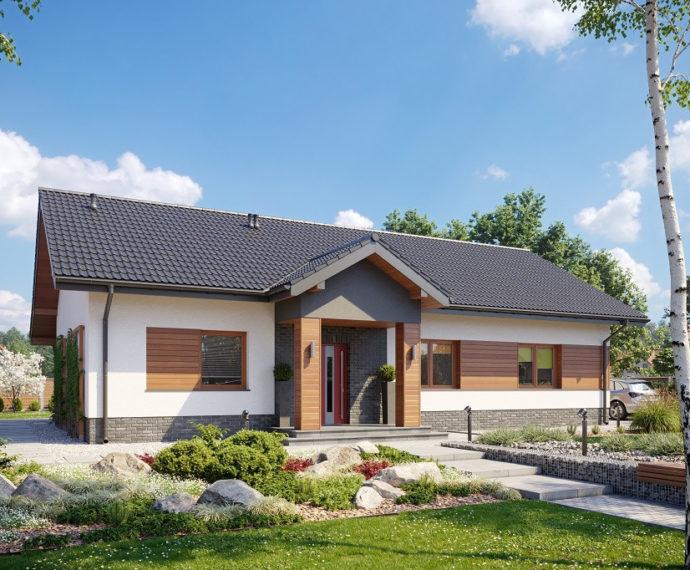 Проект одноэтажного дома с террасой P156 - фото №1