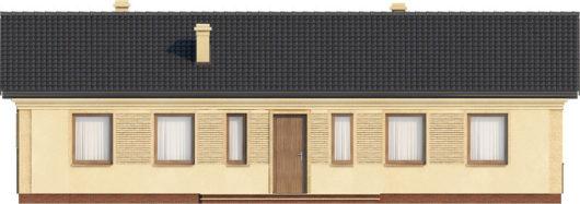 План этажа одноэтажного дома с террасой P158 - вид спереди