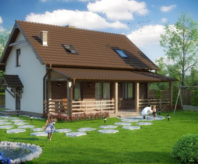 Проект мансардного дома с террасой S100 - фото №1