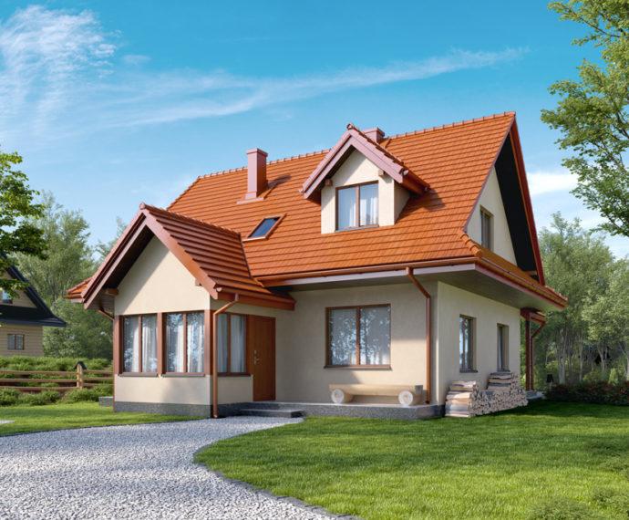 Проект мансардного дома с террасой S101 - фото №1