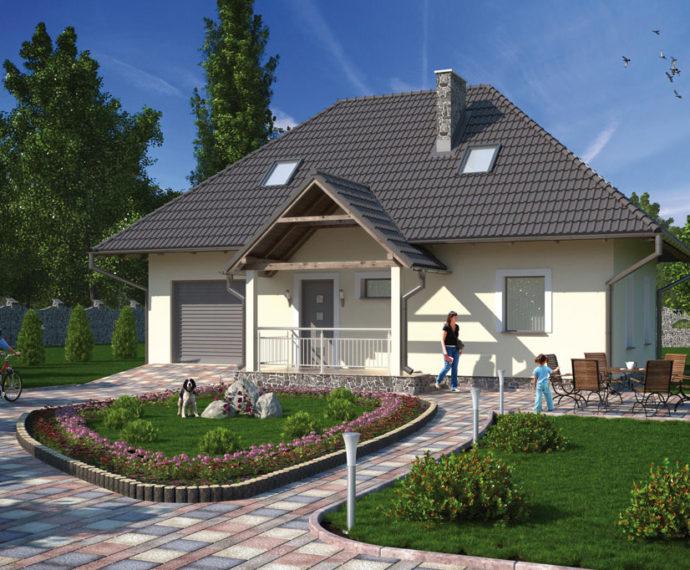Проект мансардного дома с террасой и гаражом S102 - фото №1