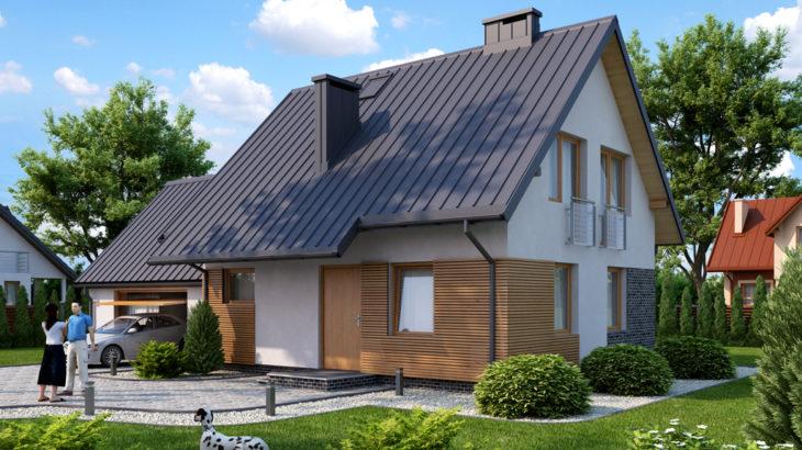 Проект мансардного дома с гаражом S104 - фото №1