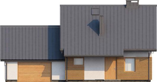 Фасад мансардного дома с гаражом S104 - вид спереди