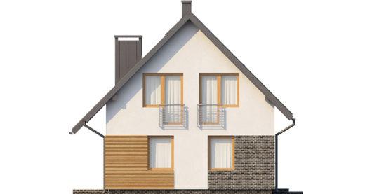 Фасад мансардного дома с гаражом S104 - вид слева