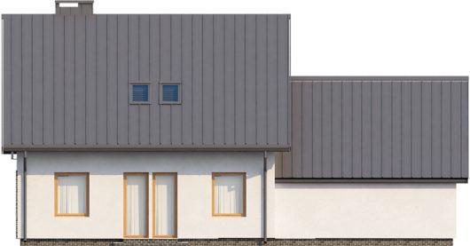 Фасад мансардного дома с гаражом S104 - вид сзади