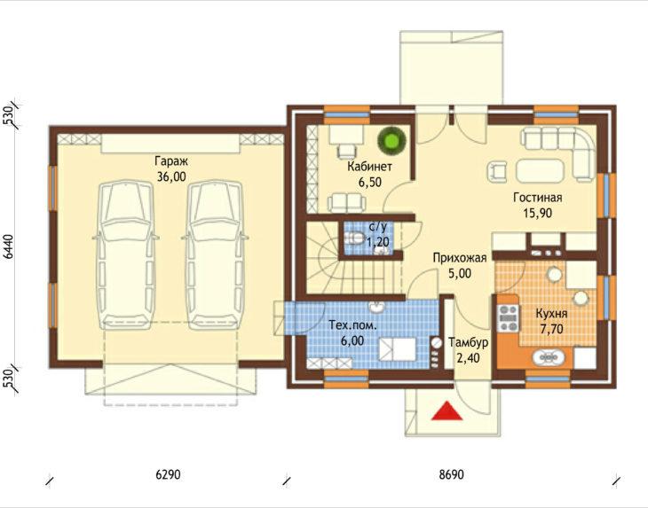 План 1 этажа мансардного дома с гаражом S104