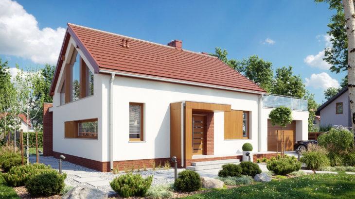 Проект мансардного дома с террасой и гаражом S108 - фото №2