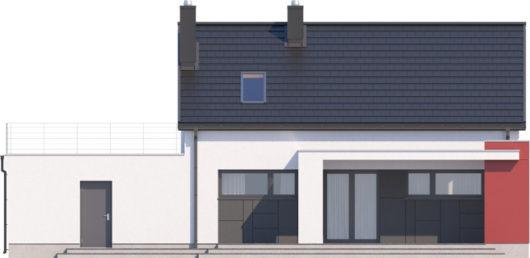 Фасад мансардного дома с террасой и гаражом S108 - вид сзади