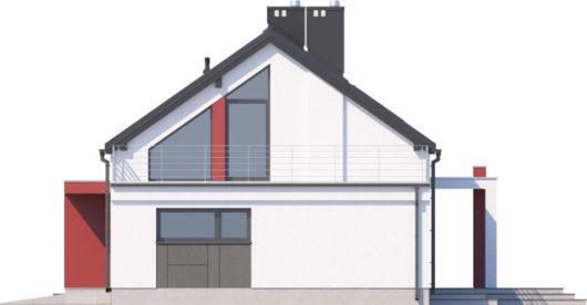 Фасад мансардного дома с террасой и гаражом S108 - вид слева