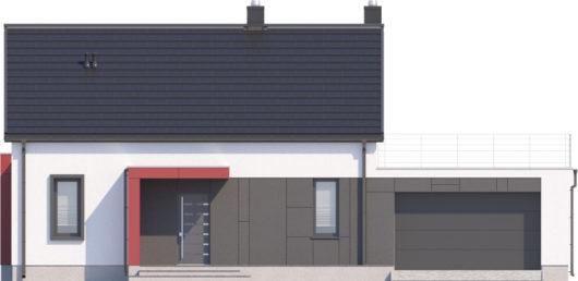 Фасад мансардного дома с террасой и гаражом S108 - вид спереди