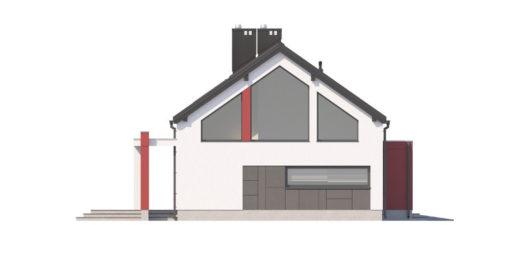 Фасад мансардного дома с террасой и гаражом S108 - вид справа