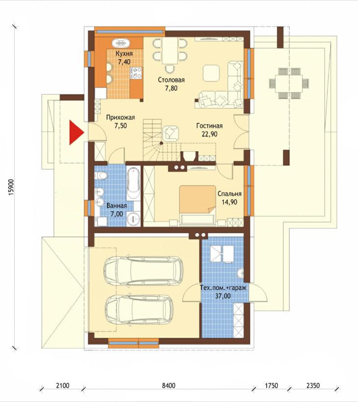 План 1 этажа мансардного дома с террасой и гаражом S108