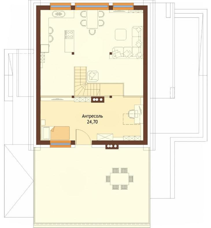 План 2 этажа мансардного дома с террасой и гаражом S108