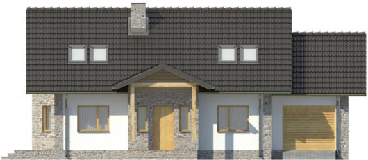 Фасад мансардного дома с террасой и гаражом S109 - вид спереди