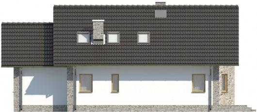 Фасад мансардного дома с террасой и гаражом S109 - вид сзади