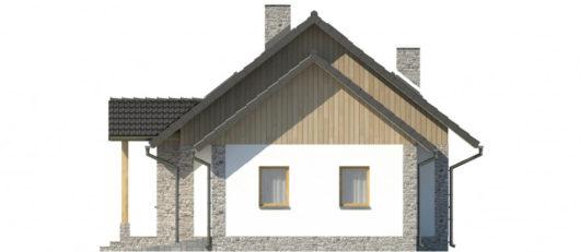 Фасад мансардного дома с террасой и гаражом S109 - вид слева