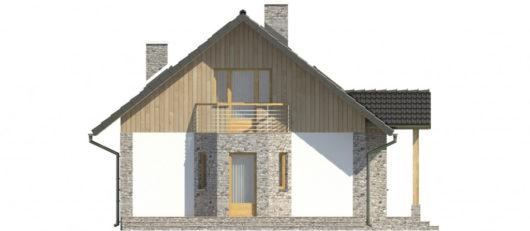 Фасад мансардного дома с террасой и гаражом S109 - вид справа