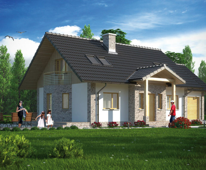 Проект мансардного дома с террасой и гаражом S109 - фото №1