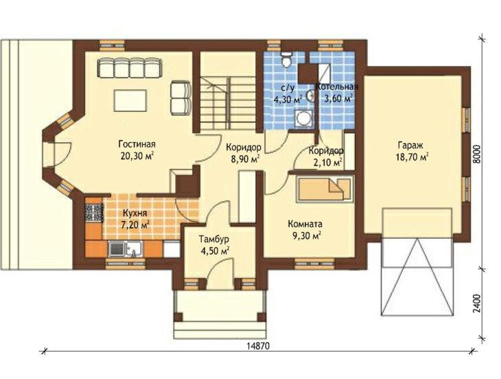 План 1 этажа мансардного дома с террасой и гаражом S109
