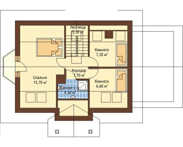 План 2 этажа мансардного дома с террасой и гаражом S109