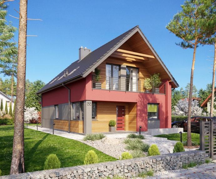 Проект мансардного дома с террасой S111 - фото №1
