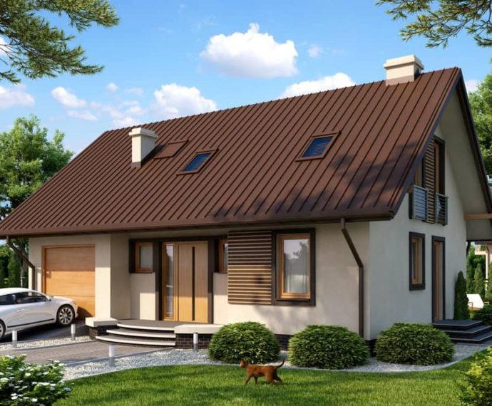 Проект мансардного дома с гаражом S112 - фото №1