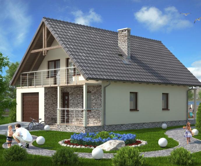 Проект мансардного дома с террасой и гаражом S114 - фото №1
