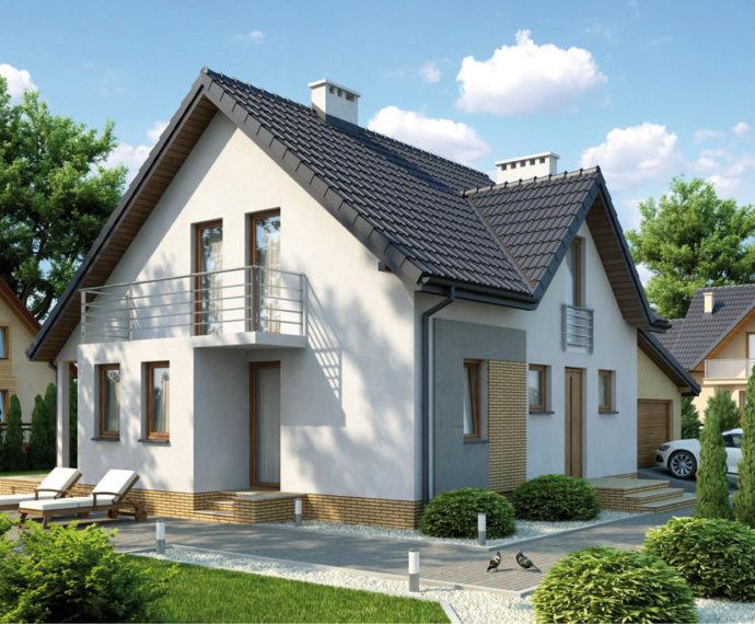 Проект мансардного дома с террасой и гаражом S117 - фото №1