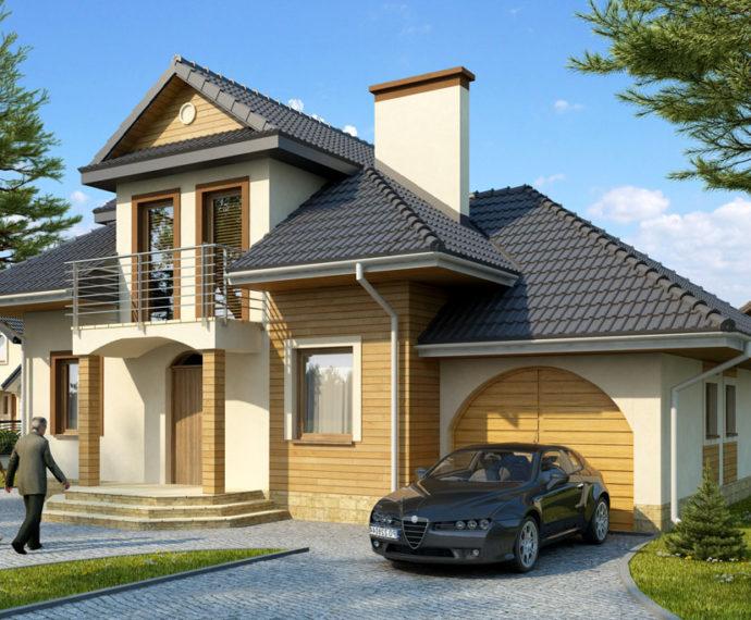Проект мансардного дома с гаражом S134 - фото №1